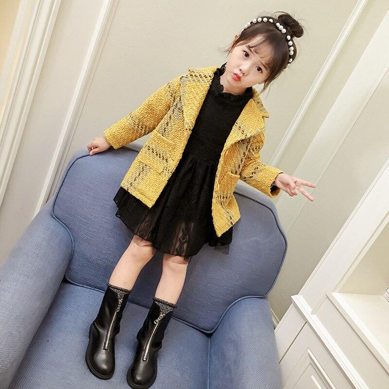 Girls Outerwear&Coats 2018 Spring Kids Jackets Plaid Pattern Design for Kids Coats Children Outerwear 1-7Year