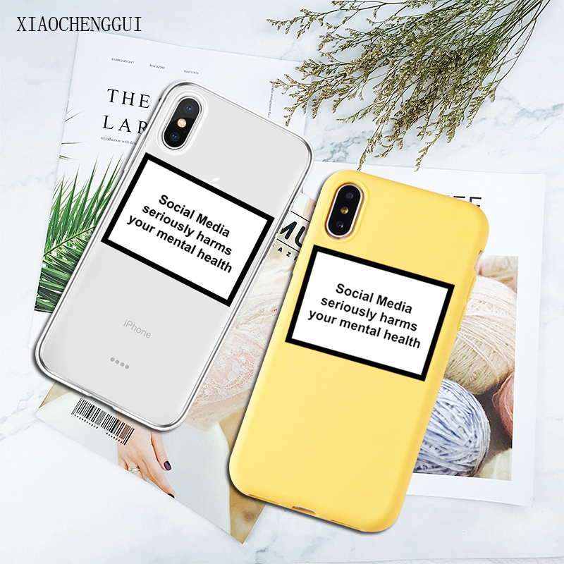 social media seriously harms your mental health soft Silicone clear phone case for iPhone X XR XS Max 6 7 8 plus 5 5s 6s cover image