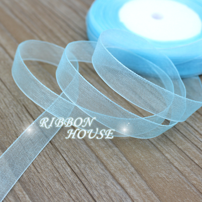 (50 yards/roll) 1/2''(12mm) sky blue organza ribbons wholesale gift wrapping decoration Christmas ribbons