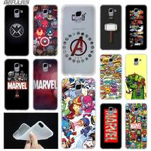 Luxury Marvel Comics logo case Cover TPU Coque For Samsung Galaxy J6 J8 J3 J5 J7 J4 J2 J1 Plus 2018 2016 2017 EU Prime Ace