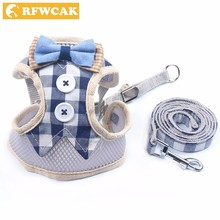 RFWCAK 1 Set Pet Cat Dog Harness Safety Walking Collar Leash Traction Elegant Stripe Style Cute Jacket Product