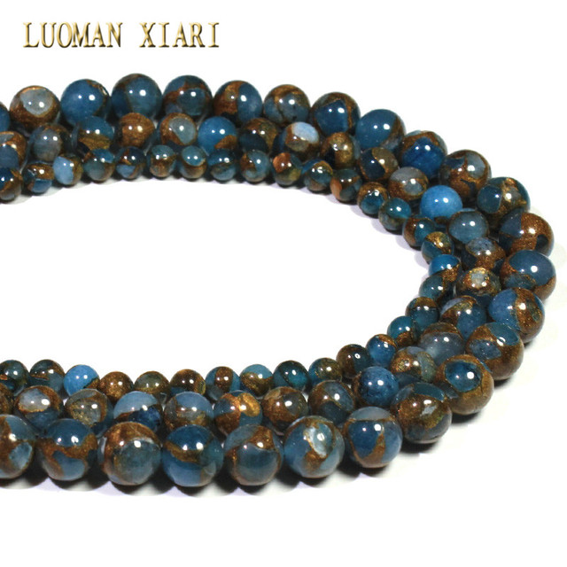 Wholesale Mix Color Blue Nepal Stone Round Loose Beads For Jewelry Making DIY Bracelet Necklace Material 6/8/10 mm Strand 15''