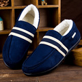 2017 New Autumn Winter Loafers Plush Men Flats Warm Striped Chaussure Homme Suede Casual Slip On Shoes Man Round Toe Patchwork