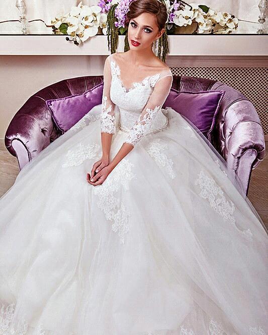 Sexy Wedding Dresses 2019 Robe De Mariage Deep V Neck 3/4