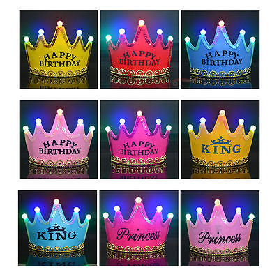 10pcs Cute Boys Girls Baby Kids Princess King LED Crown Happy Birthday Party Hats Cap Fancy NEW Supplies In From Home Garden On