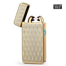 Благородный Тонкий 11 мм LED Дым Крест Двойной Дуги Легче USB Пульс Сигар Зажигалки Мужчин зажигалка Портсигар Box-2018