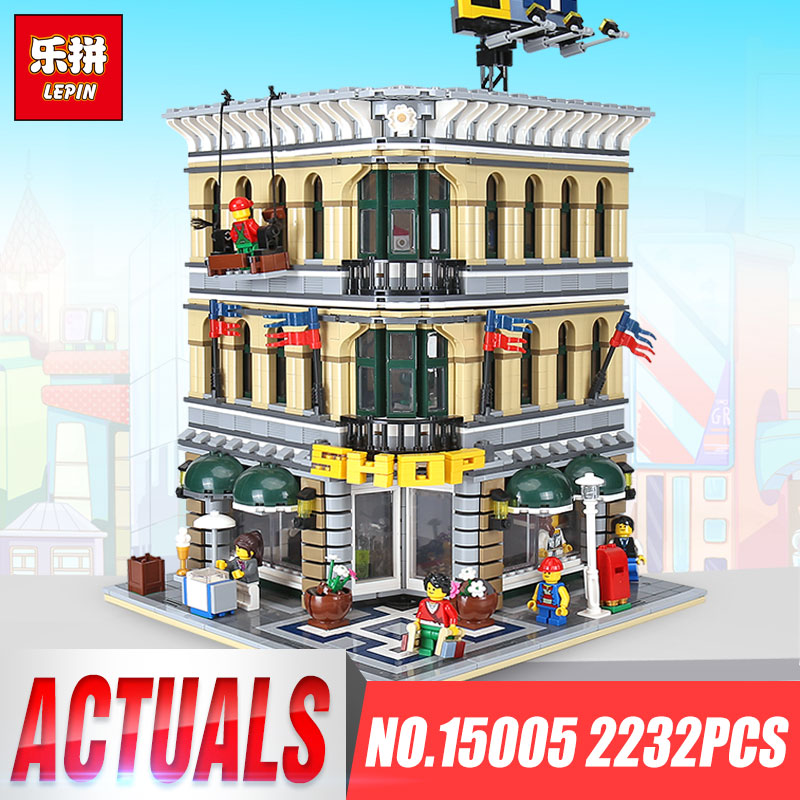 Lepin 15005 2232pcs City Grand Emporium Model Building Blocks Birthday Funny Educational Brick Toys Compatible legoing 10211 2232pcs lepin 15005 city creator grand emporium model building blocks educational gifts diy kits brick toys compatible 10211