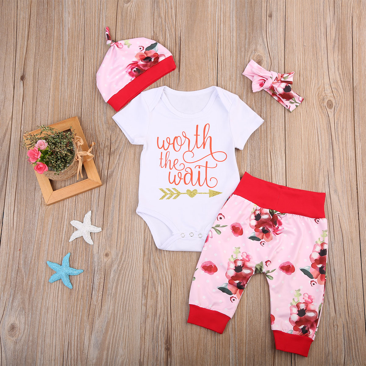 Newborn Baby Girls Worth The Wait Tops Romper Pants Floral Coming Home Outfits Set