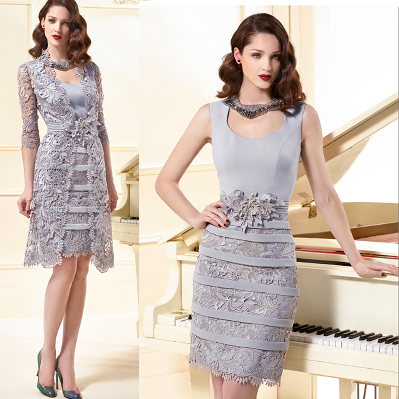 Silver Lace Mother Of The Bride Dresses With Jacket 2015