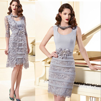 Silver Lace Mother of the Bride Dresses with Jacket 2015 New Custom Made Knee Length Long Stain Wedding Party Gowns(MO 8150)