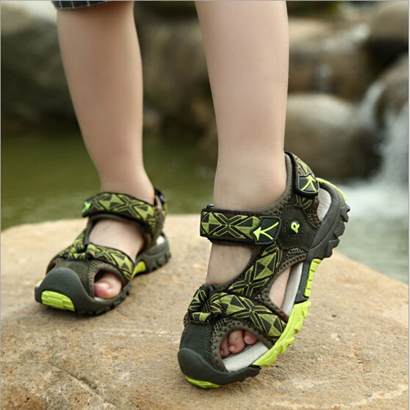 Boys sandals kids shoes 2016 summer beach kids sandals closed toe Jap flaps for boys and girls