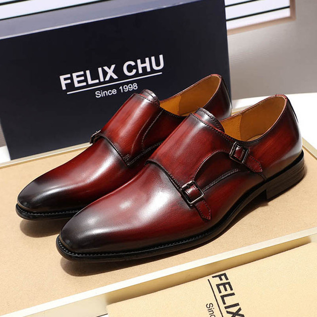 Luxury Classic Genuine Leather Men S Double Monk Strap Dress Shoes