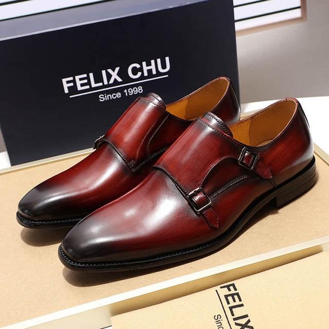 b2f2f81167 Luxury Classic Genuine Leather Men's Double Monk Strap Dress Shoes Men  Black Burgundy Suit Shoe Business Office Men Formal Shoes