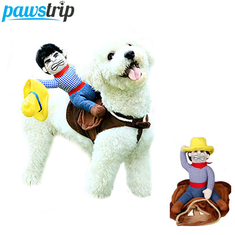 Pawstrip Riding Horse Dog Costume CowBoy Halloween Puppy Clothes Funny Pet Outfit Dog Apparel S-XL