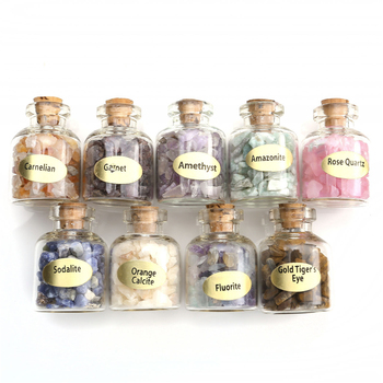 Sunligoo 9 Bottles Mini Natural Semiprecious Gem Stone Chip Crystal Healing Tumbled Reiki Wicca Travel Natural Stones Decoration 1