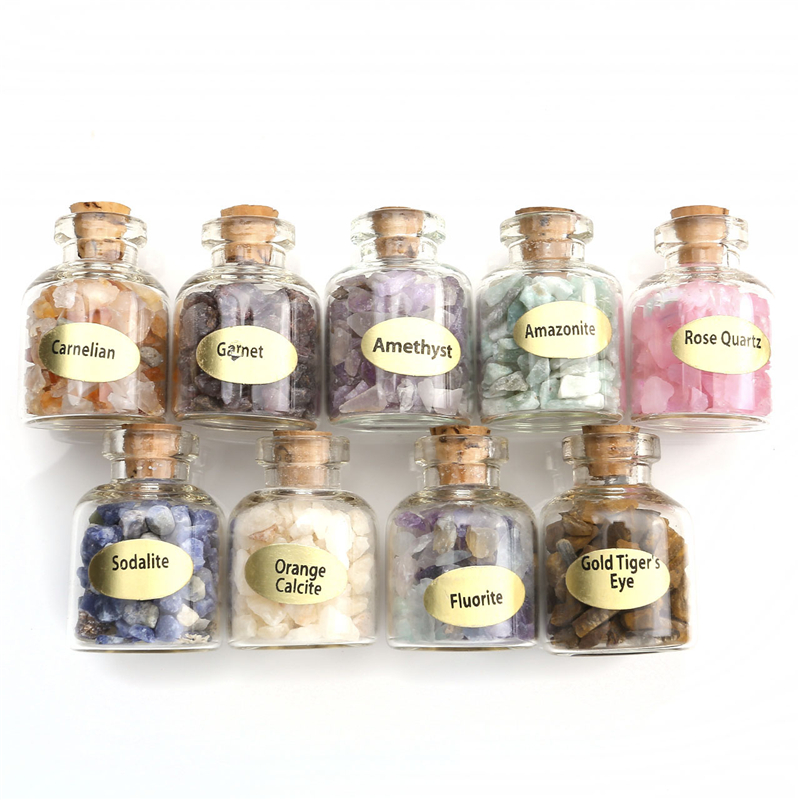 New Arrival 9 Mini Natural Semiprecious Gem Stone Bottles Chip Crystal Healing Tumbled Reiki Wicca Travel Decoration Stones Set