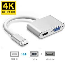 USBC إلى HDMI 4K 30 Hz مهايئ VGA USB 3.1 نوع C USB C إلى VGA HDMI محولات الفيديو محول جديد ماك بوك برو/Chromebook Pix