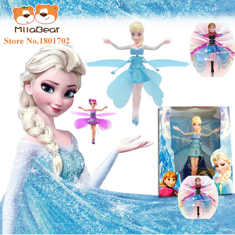 Cheap Original Fever Princess Flying Fairy Elsa Toys With Lights Up Infrared Induction Doll for Kids