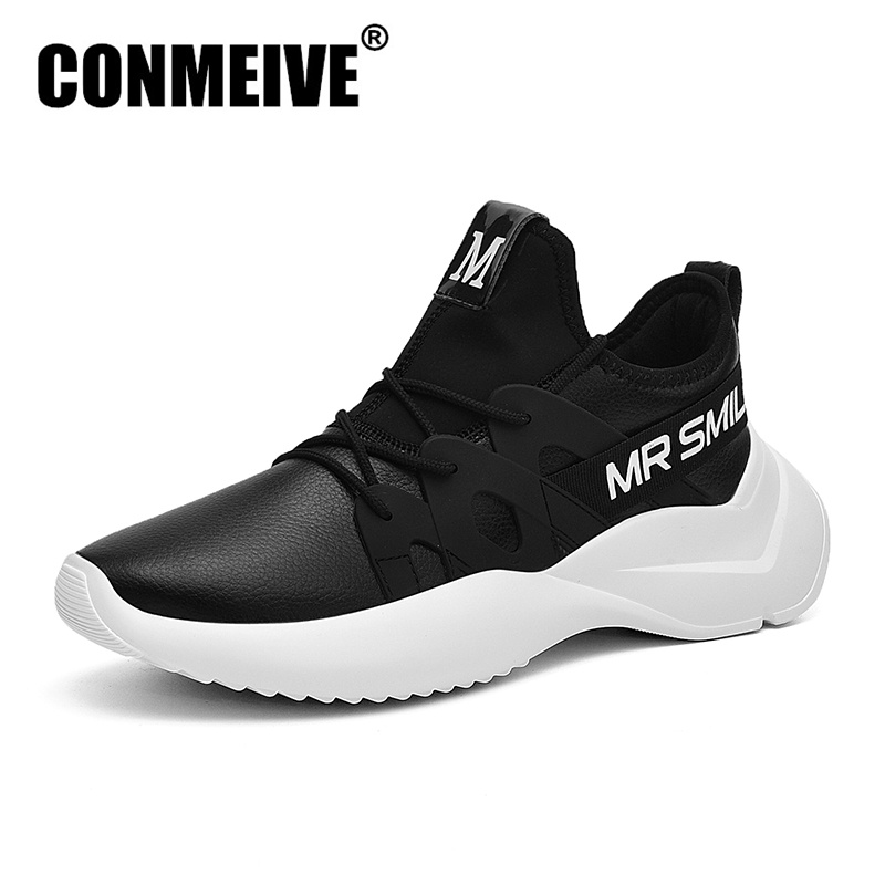 цена Fashion Light Lace-up Male Sneakers Luxury Brand Designer Men Blcak White Casual Shoes Winter Soft Leather Mens Shoes Size 39-44