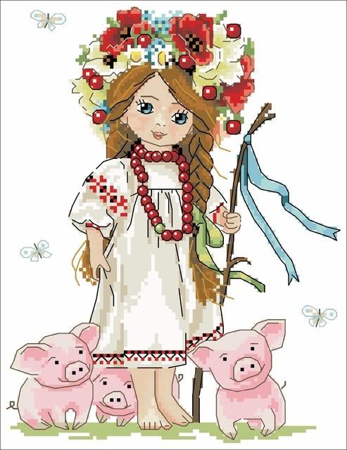 Chica guirnalda con cerdos Cruz kit Paquete de dibujos animados Aida ...