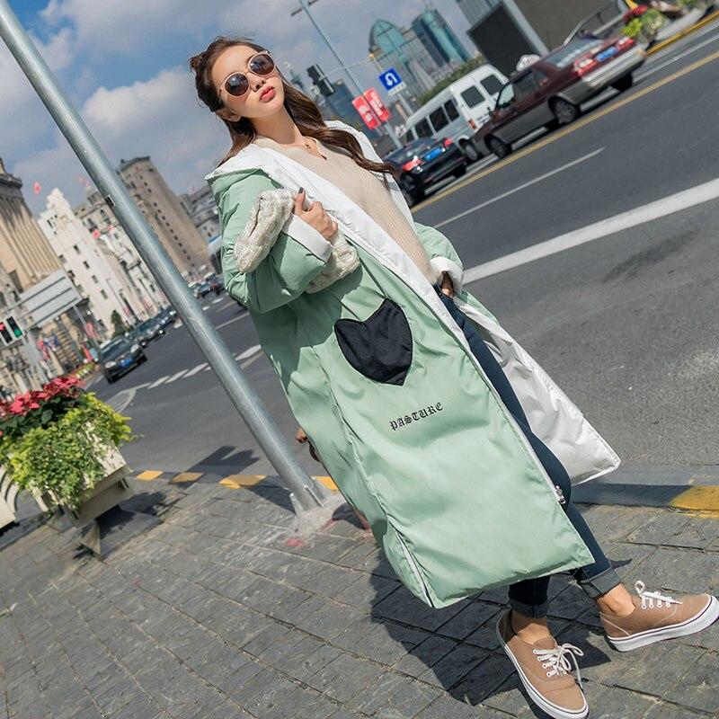 Hiver Manteau White Taille Épaissir green Vêtements Coton Lâche Lq429 Plus Coréen Nouvelle Long Chaud La Usure Femmes Navy Veste Pink face Deux qwtpn18n