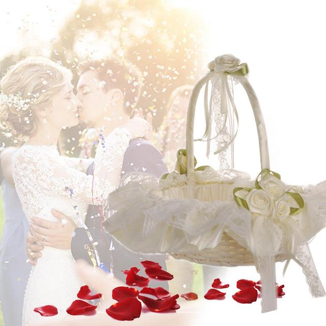 Wedding Bamboo Flower Basket Rhinestone Lace Trim Satin Wedding