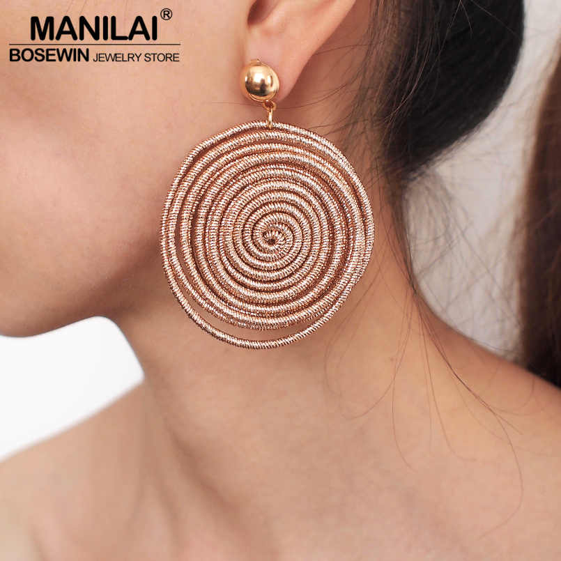 MANILAI Bohemian Round Alloy Spiral Statement Earrings Women's Vintage Metal Drop Dangle Earrings Jewelry Accessories Wholesale