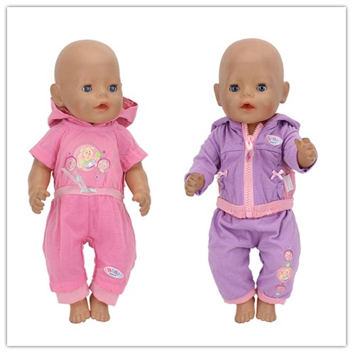 2Color Choose HIgh quality set clothers Wear fit 43cm Baby Born zapf,  Children best  Birthday Gift(only sell clothes)