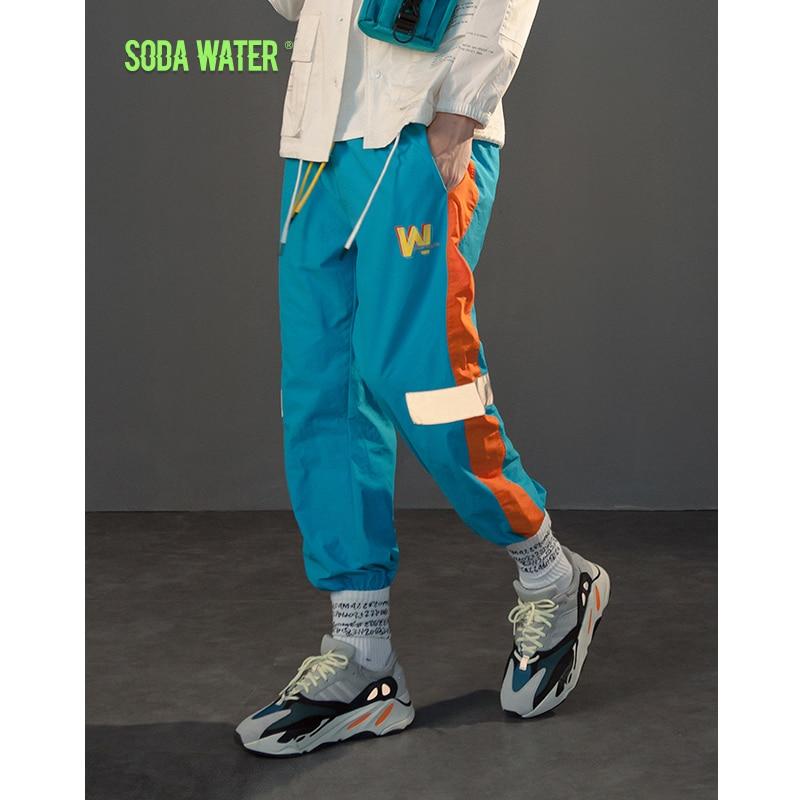 3020a6dbc6 Wody sodowo odzwierciedlają taśma oświetlająca jogger spodnie Sportswear  rocznika spodnie 2018 A W nowe mody