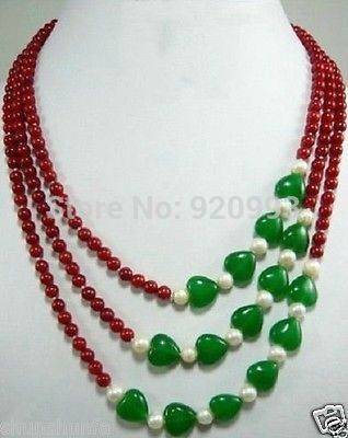 """Wholesale&FREE P&P***3 Row Beautiful Jewelry 6mm Red Coral & Green Jade Gem Necklace 17""""--21"""