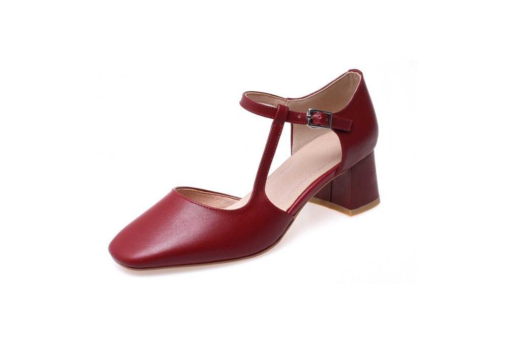 Ayakk.'ten Kadın Pompaları'de Krazing Pot hakiki deri tıknaz med topuklar toka askı boş kadın pompaları kare ayak genç kızlar artı boyutu parti ayakkabıları L76'da  Grup 2