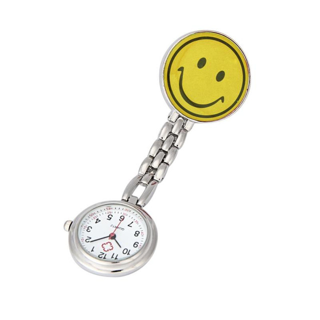 Timezone#301 Nurse Watches Brooch Fob Medical Nursery Clocks Colorful Smile Face