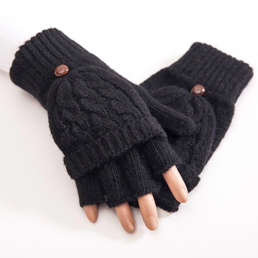 Women Thicken Mittens Flip Gloves Autumn Winter Knitted Half Finger Hand Warmer Gift Artificial Wool Thermal Soft 1 Pair