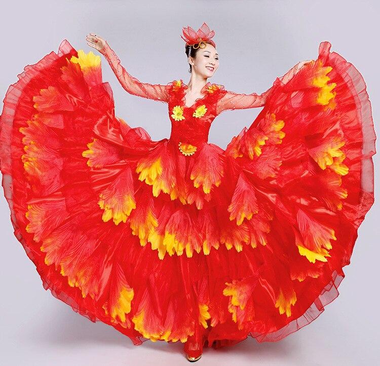2019 nouveau la nouvelle ouverture danse pleine jupe robe espagne tauromachie danse pleine jupe robe Costumes pétales robe sans manches
