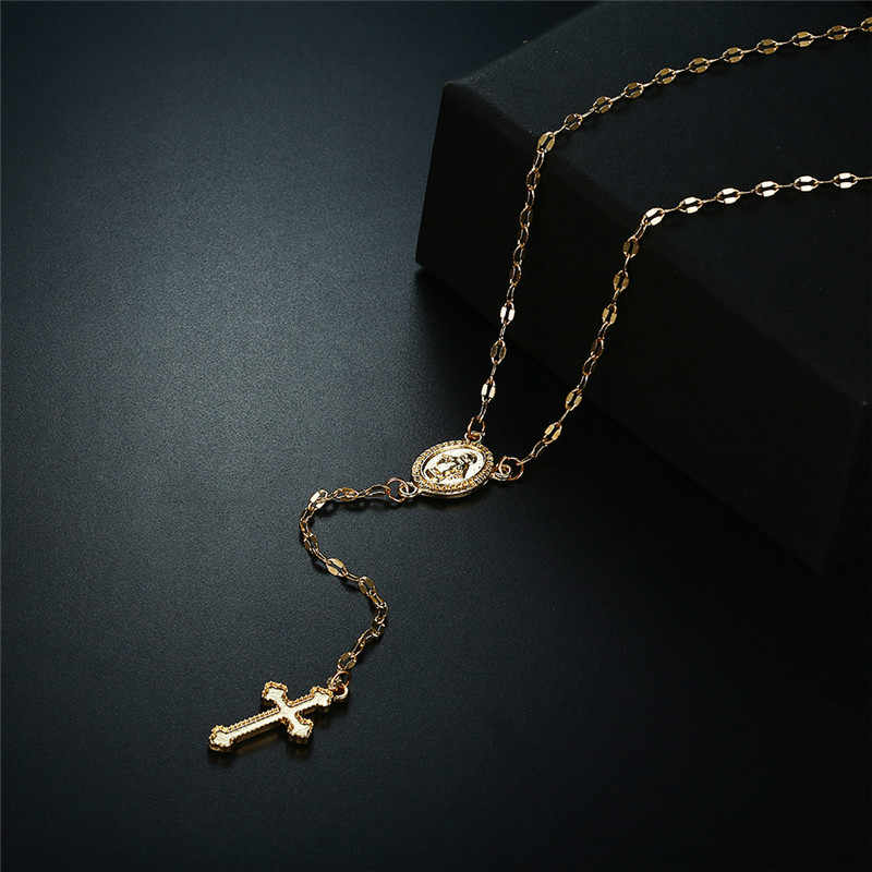 LISM Bohemia Gold Silver Color Cross Pendant Necklace Jesus Virgin Mary Chain Necklace For Women Jewelry collares de moda 2019