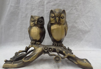 S5005 11 Chinese Bronze Folk Flower Love 2 Bird Owl Scout Minerva Statue Sculpture D0317
