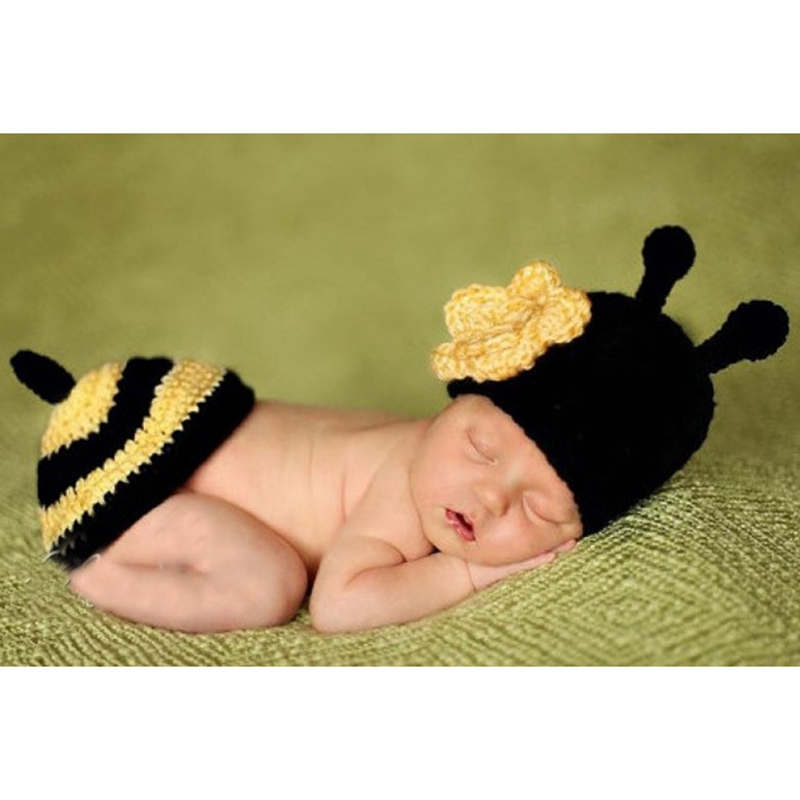 Cute Handmade Bee Baby Photography Props Crochet Infant Boy & Girl Hat PP Pants Chapeu Bebe Knit Accessories Newborn Clothes cute newborn baby photography props outfits knit crochet hat tie pants costume set bebes roupa infantil bebek d