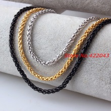 3 4 5 6 7mm 316L Stainless Steel Silver Gold Black Wheat Braided Chain Necklace For