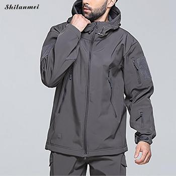 Tactical Army Jacket Mens Waterproof Windbreaker Hooded Jackets Outwear Softshell Camouflage Military Jacket Winter Coat Men 3XL