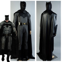 Batman v Superman Dawn of Justice Batman Costume Bruce Wayne Jumpsuit Cosplay Costumes With Mask Belt For Adult Men Custom Made
