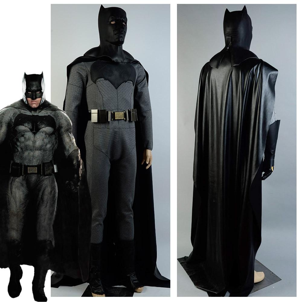 Batman v Superman Dawn of Justice Batman Costume Bruce Wayne Jumpsuit Cosplay Costumes With Mask Belt For Adult Men Custom Made