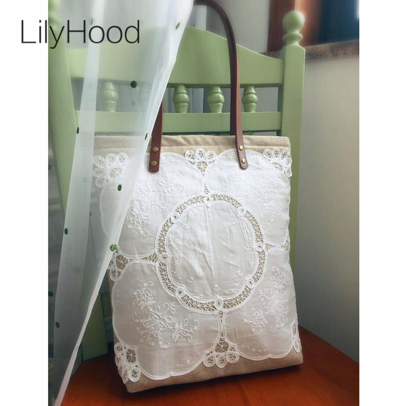 LilyHood Women Shabby Chic Lace Handbag Handmade Jute Vintage Retro Wedding Crochet Canvas Lace Feminine Top-Handle Big Tote Bag