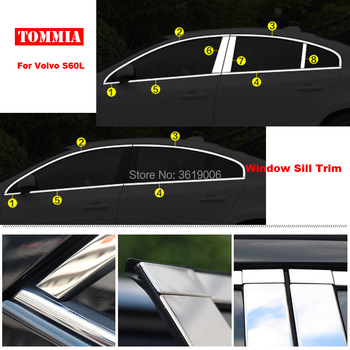 TOMMIA Full Window Middle Pillar Molding Sill Trim Chromium Styling Strips Stainless Steel For volvo s60l