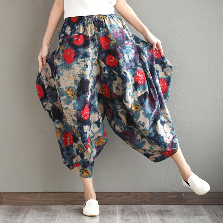 2019 Summer Women Elastic Waist Long   Pants   Boho Floral Print Harem   Pants   Casual Cotton Linen Loose Trousers
