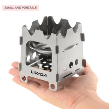 Lixada Outdoor Portable Ultralight Stove Camping Folding Stainless Steel Wood Pocket With Alcohol Tray Hiking