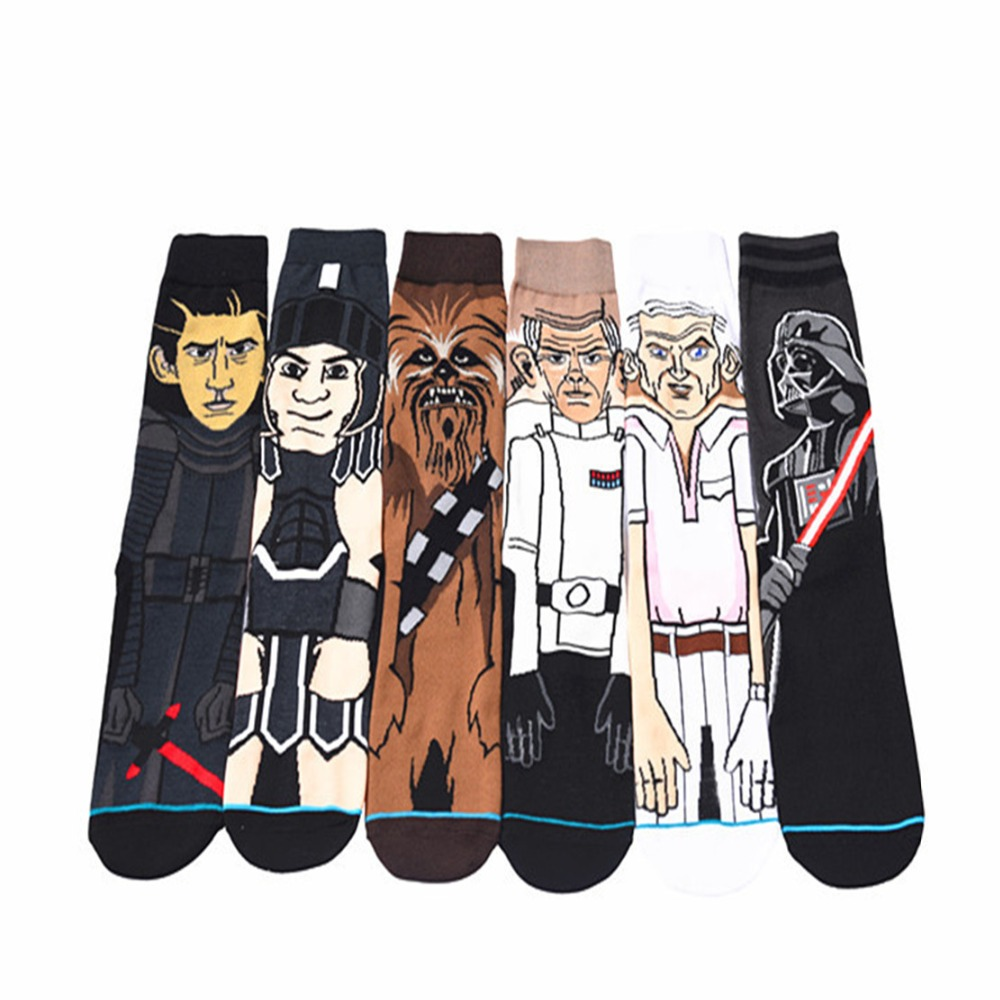 Star Wars cartoon black knight socks Fashion personality Comics chaussettes homme fantaisie Comfortable funny happy Mans sock