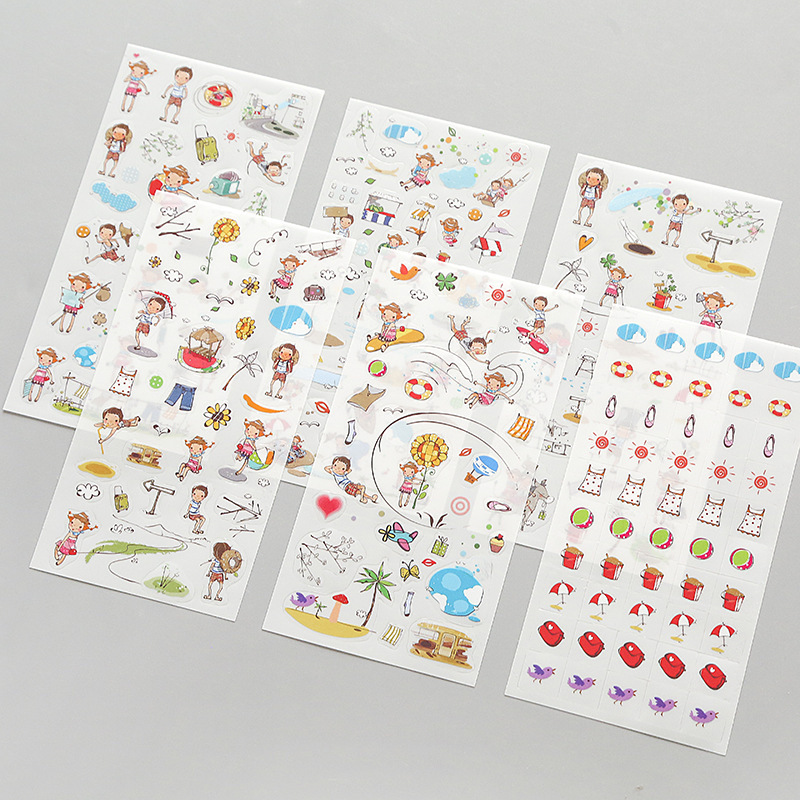 6 Sheets Korea Stationery Happy Childhood Sticker Summer Beach Vacation Children Playing Album Diary Decor DIY Stikcers Kid Gift