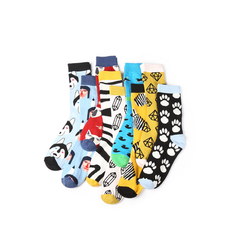 14 Colors Men's Skateboard Long Crew Awesome Wolf/Husky/Striped Socks Combed Cotton 200 Needles Knitting Soft Warm Men Socks