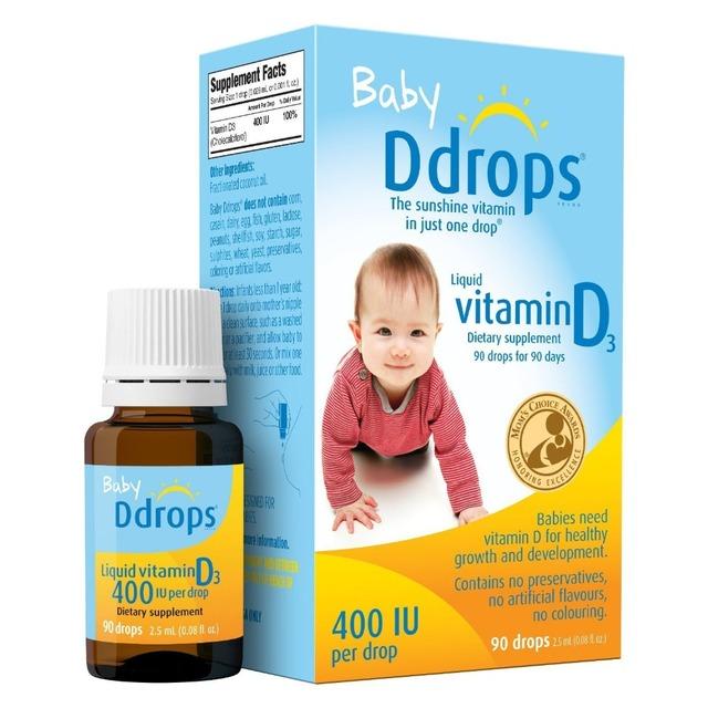 Frete grátis Bebê Ddrops 400UI 90 gotas de Vitamina D3 suplemento dietético