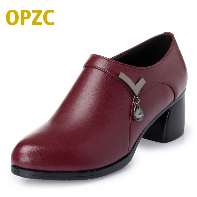 2018 new spring and autumn genuine leather women shoes deep mouth simple wild round high-heeled shoes fashion shoes women women crude with a single shoe shallow mouth high heeled shoes 2018 new fashion lady shoes for women high heeled shoes spring 39